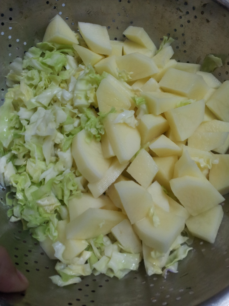 Aloo Cabbage Sabzi Preparation
