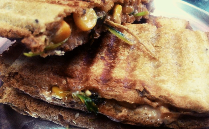 Sweet Corn Methi Sandwich For Breakfast