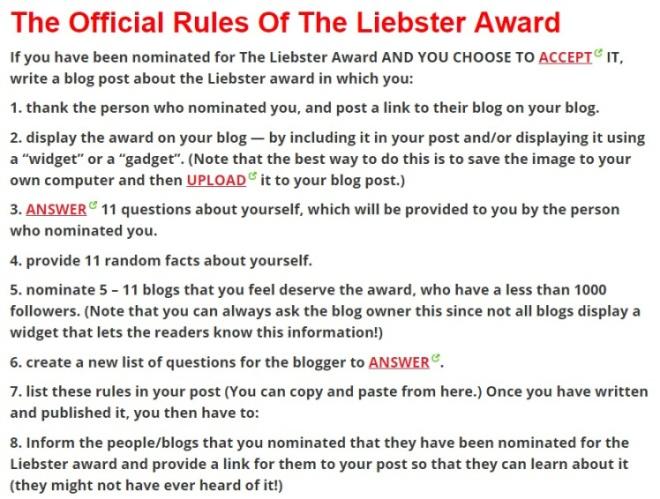 liebster award rules