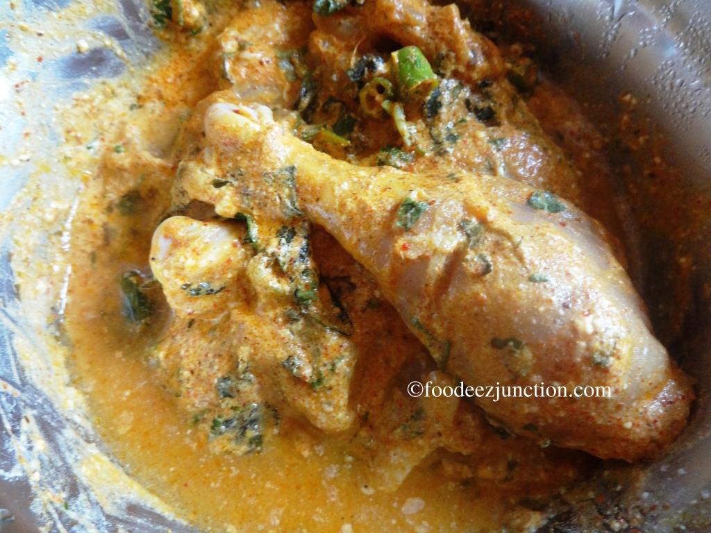 Marinated Chicken for Hyderabadi Dum Biryani