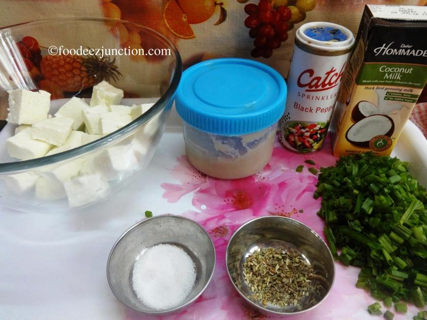 Paneer with Coconut Milk Recipe Ingredients