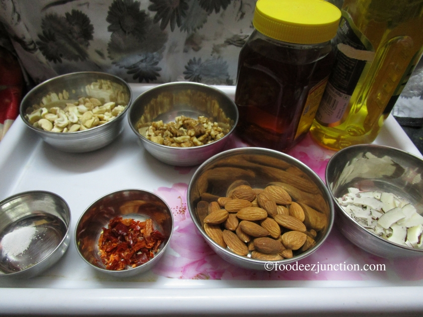 Ingredients for Honey-Glazed Roasted Nuts