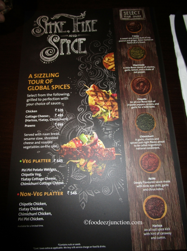 The Menu for Smoke, Fire and Spice Fest at Hard Rock Cafe
