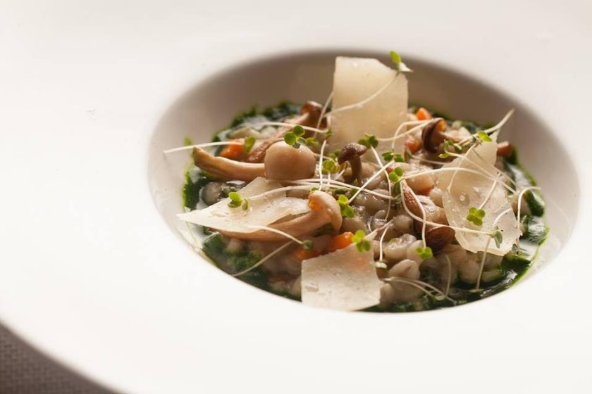 Pearl Barley & Wild Mushroom Bouillie with Parsley Jus by Chef Ashay