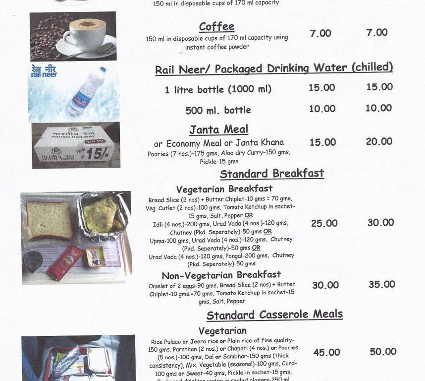 Indian Railways New Menu foodeezjunction.com