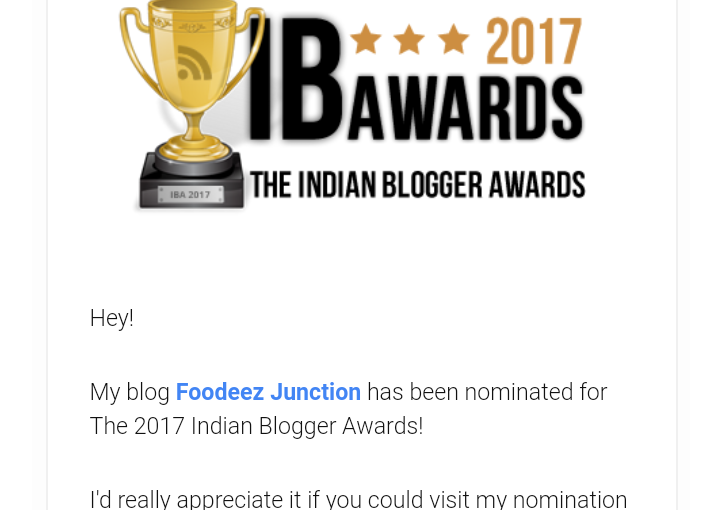 Foodeez Junction is Nominated for the Indian Blogger Awards 2017